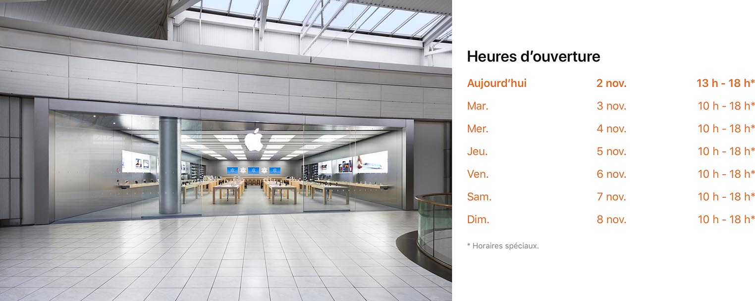 Apple Store confinement horaires Carré Sénart