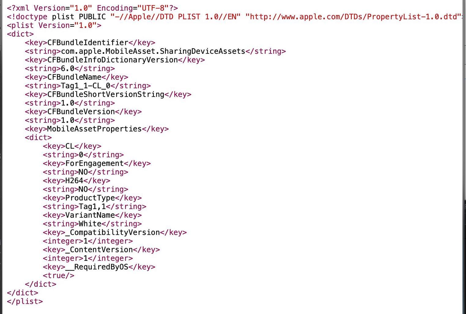 Apple Tag1,1 référence iOS 13