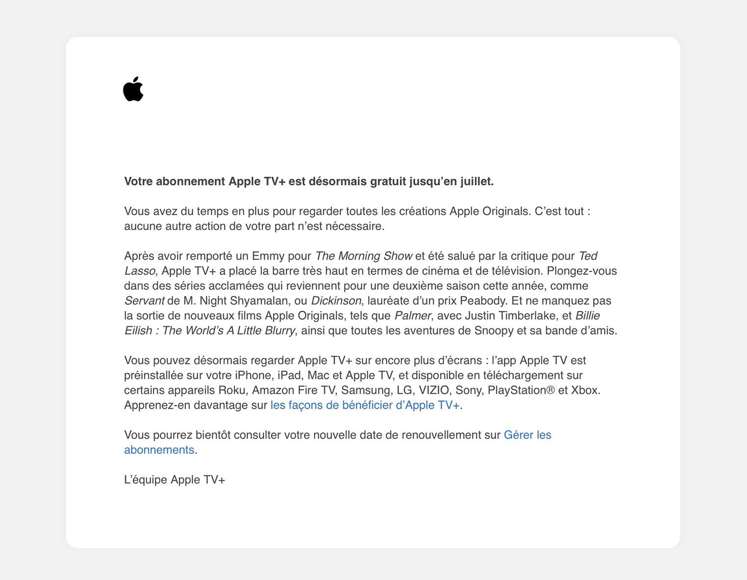 Prolongement gratuité Apple TV+ juillet 2021