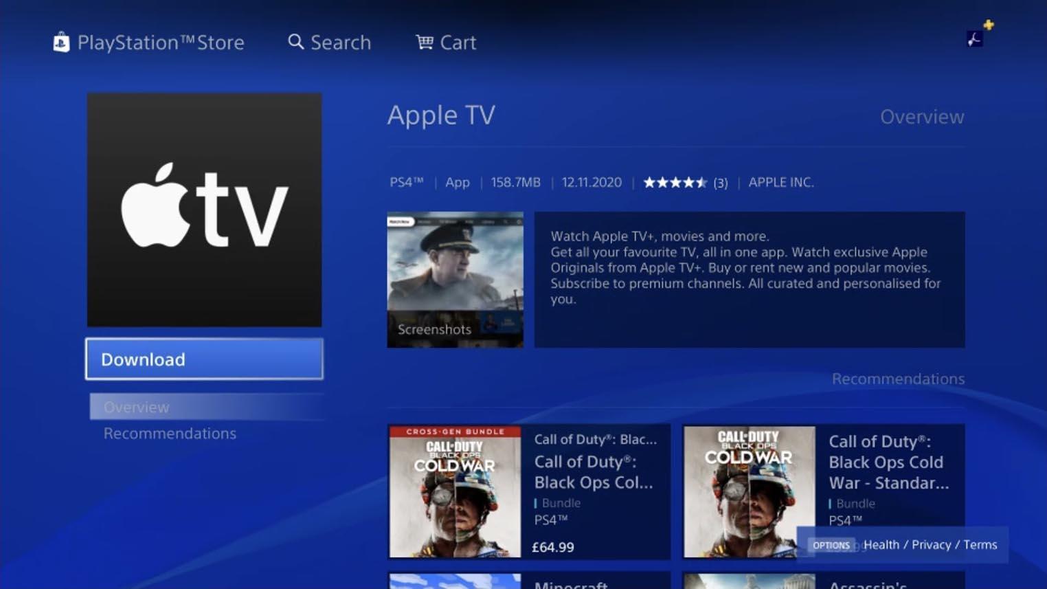 Apple TV app Playstation store