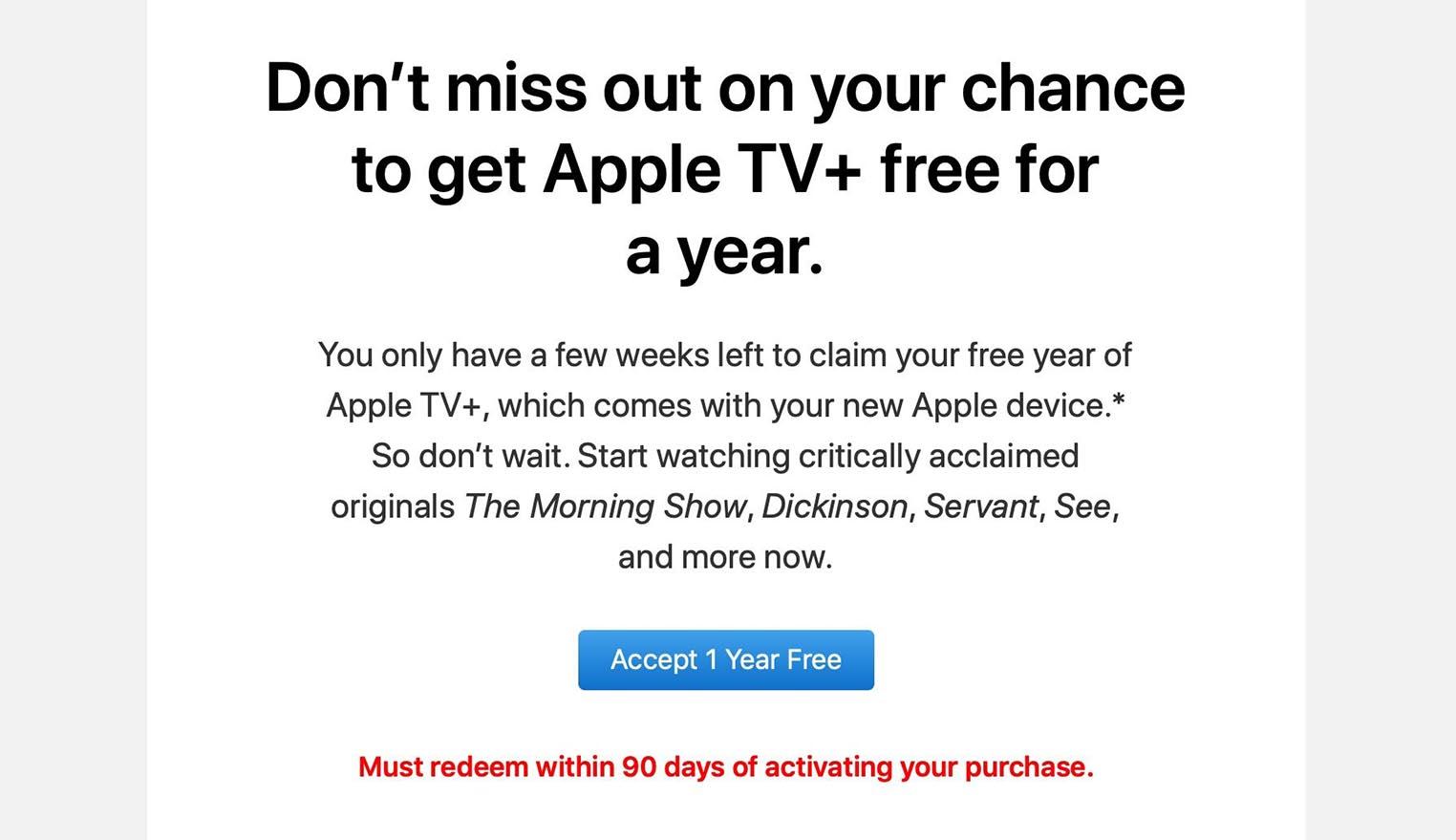 Apple TV+ 90 jours