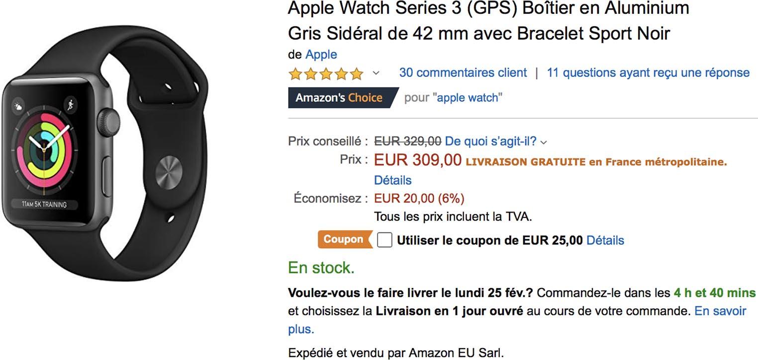 Apple Watch Series 3 coupon Amazon