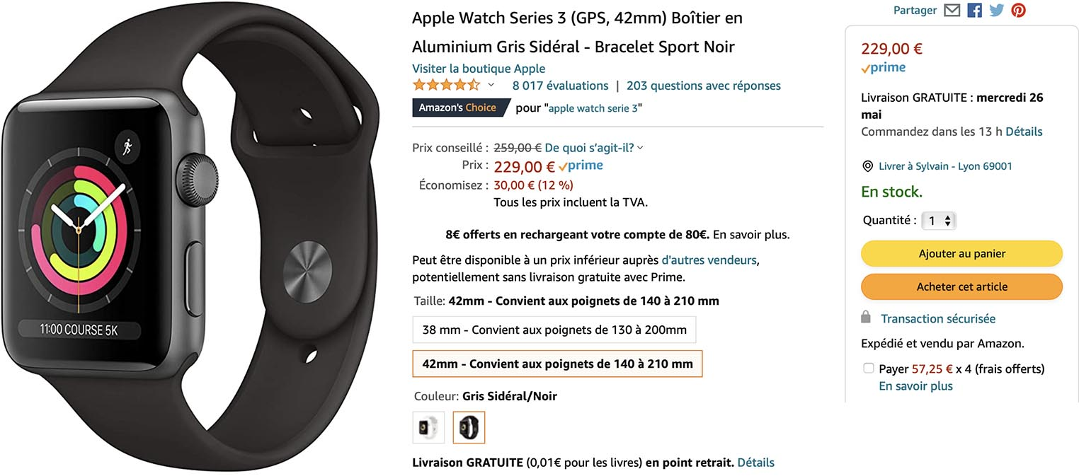 Apple Watch Series 3 promo Amazon