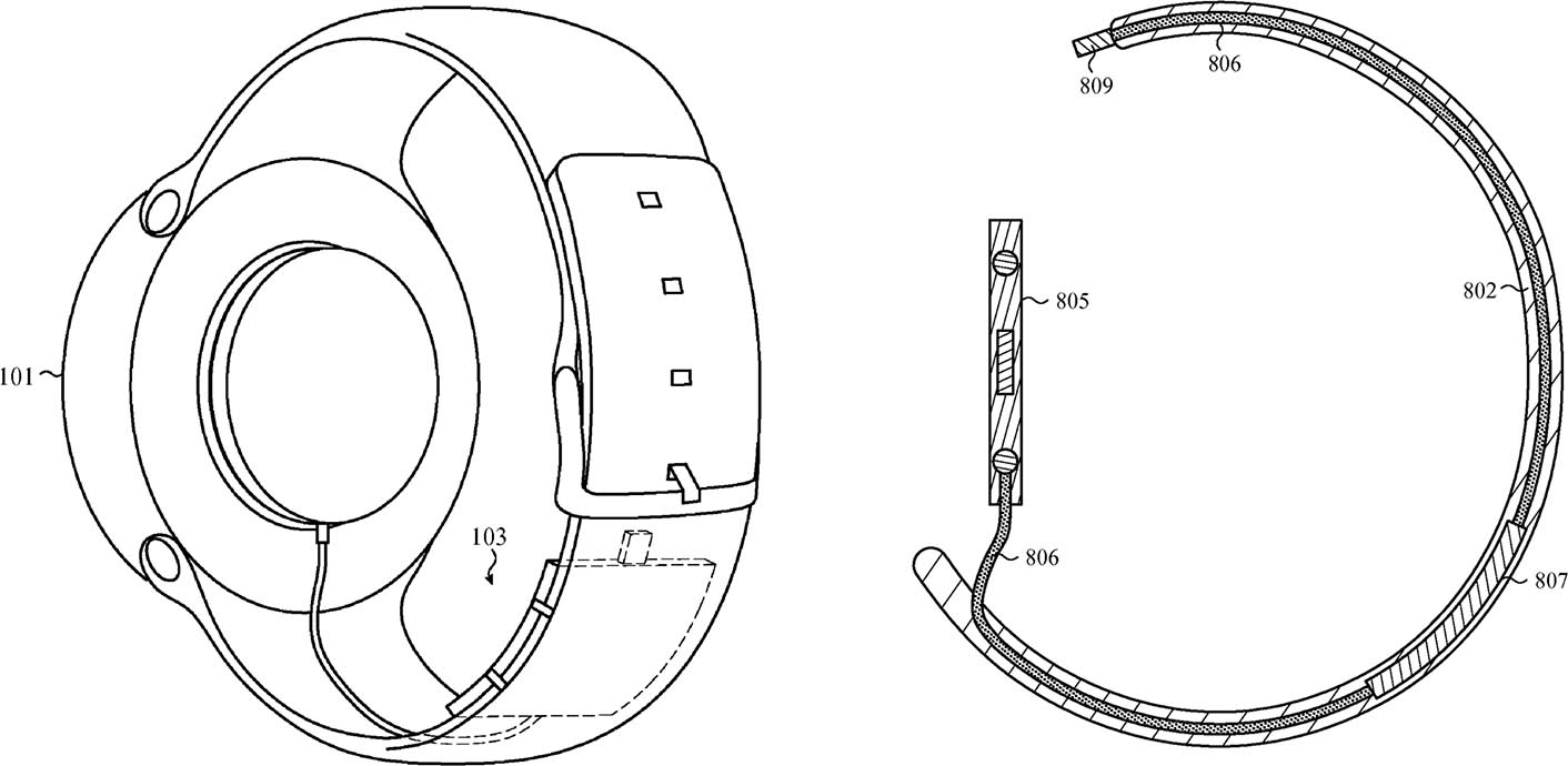 brevet Apple Watch batterie bracelet