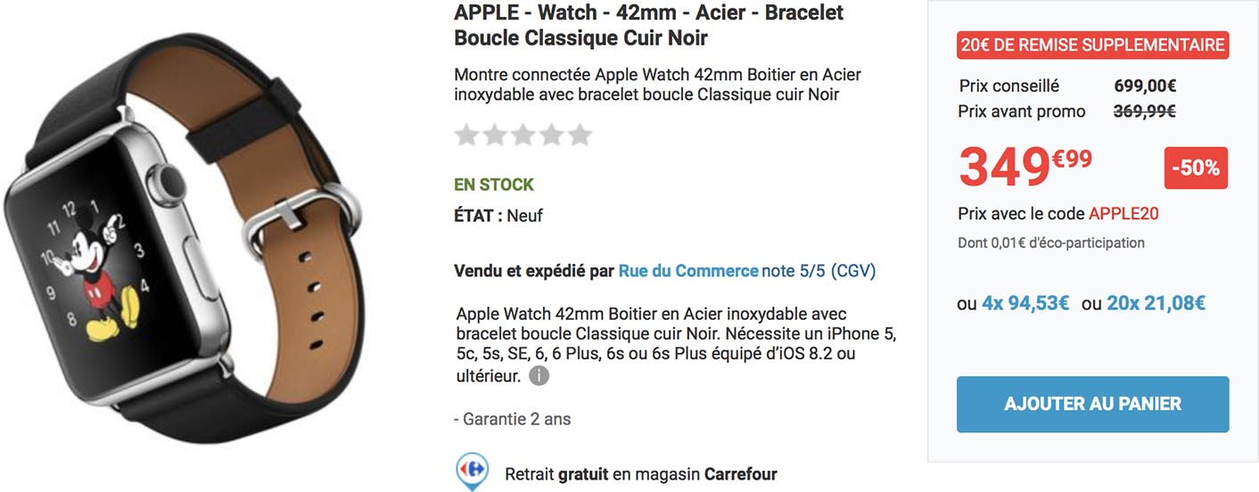 consomac jolie promo sur une apple watch de premi re g n ration. Black Bedroom Furniture Sets. Home Design Ideas