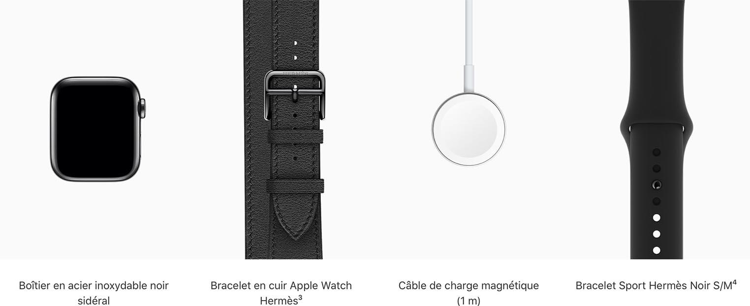 Apple Watch Hermès contenu du coffret