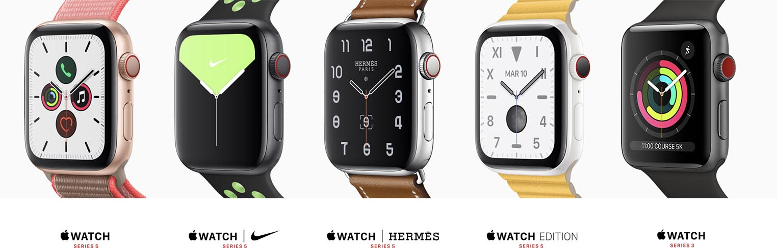 Apple Watch Series 5 et Series 3 2019