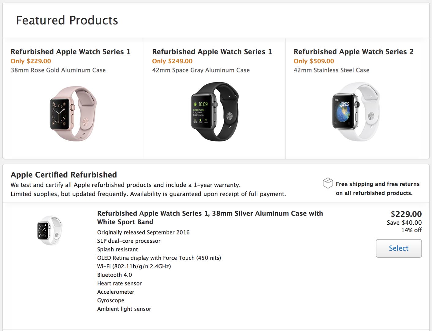 Apple Watch Refurb US