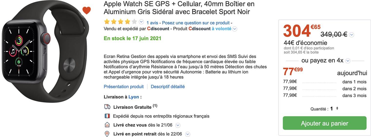 Apple Watch SE CDiscount