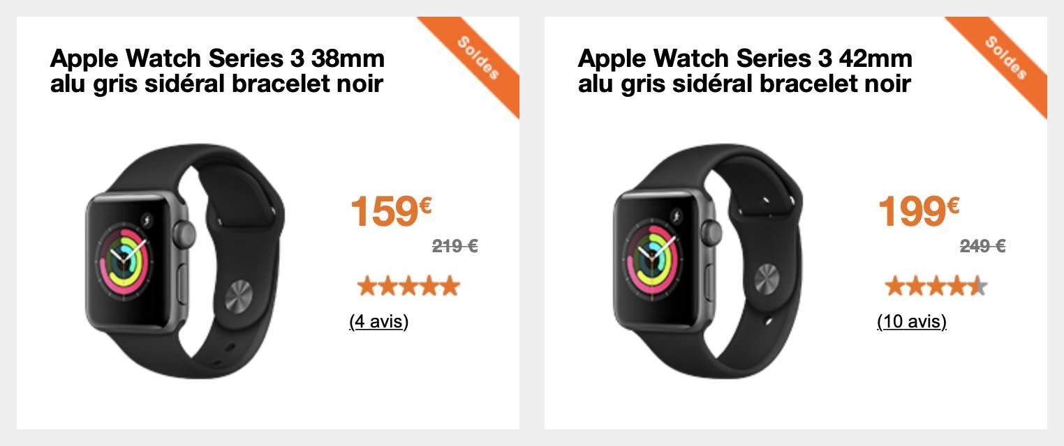 Apple Watch Series 3 soldes Orange