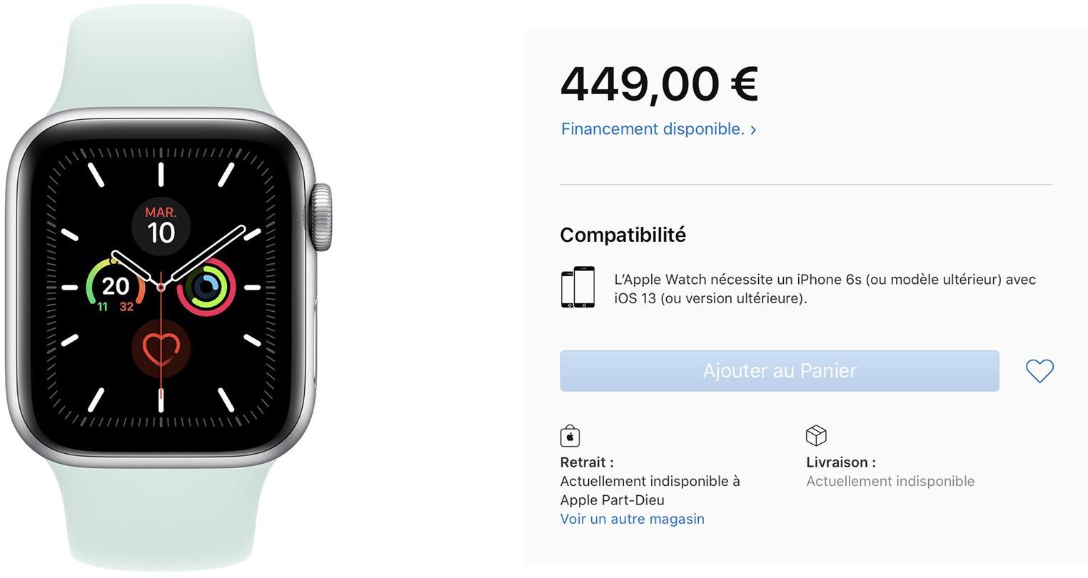 Apple Watch Series 5 actuellement indisponible