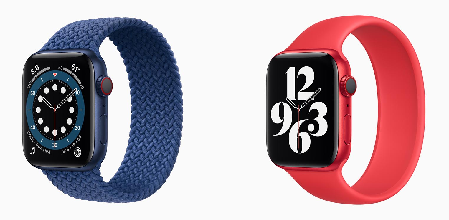 Apple Watch Series 6 bleu rouge