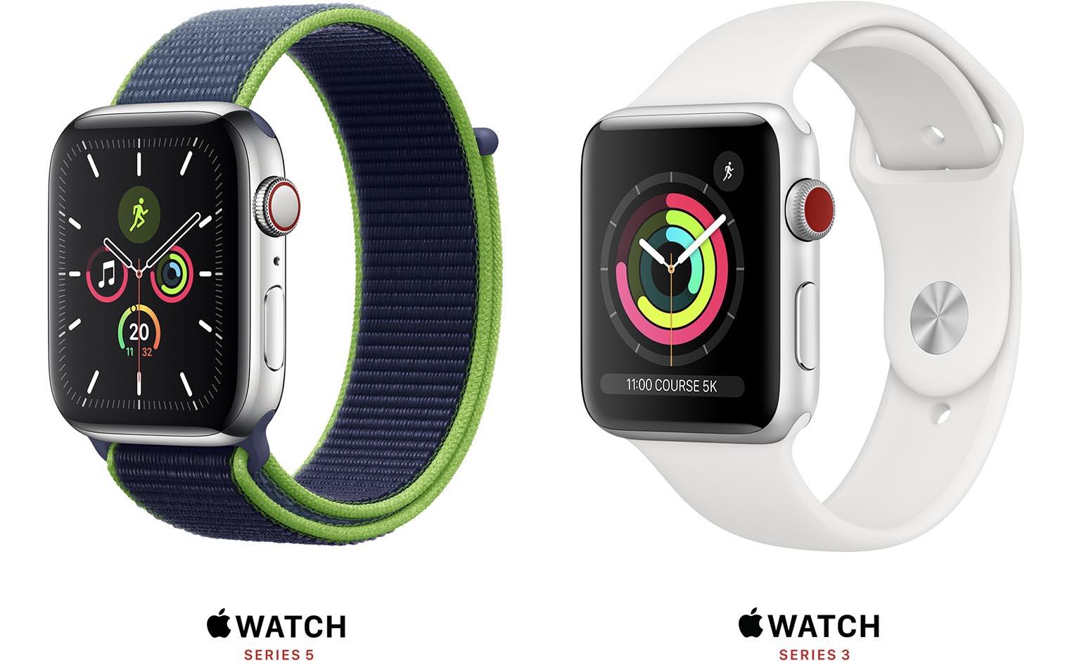 Apple Watch Series 3 et 5