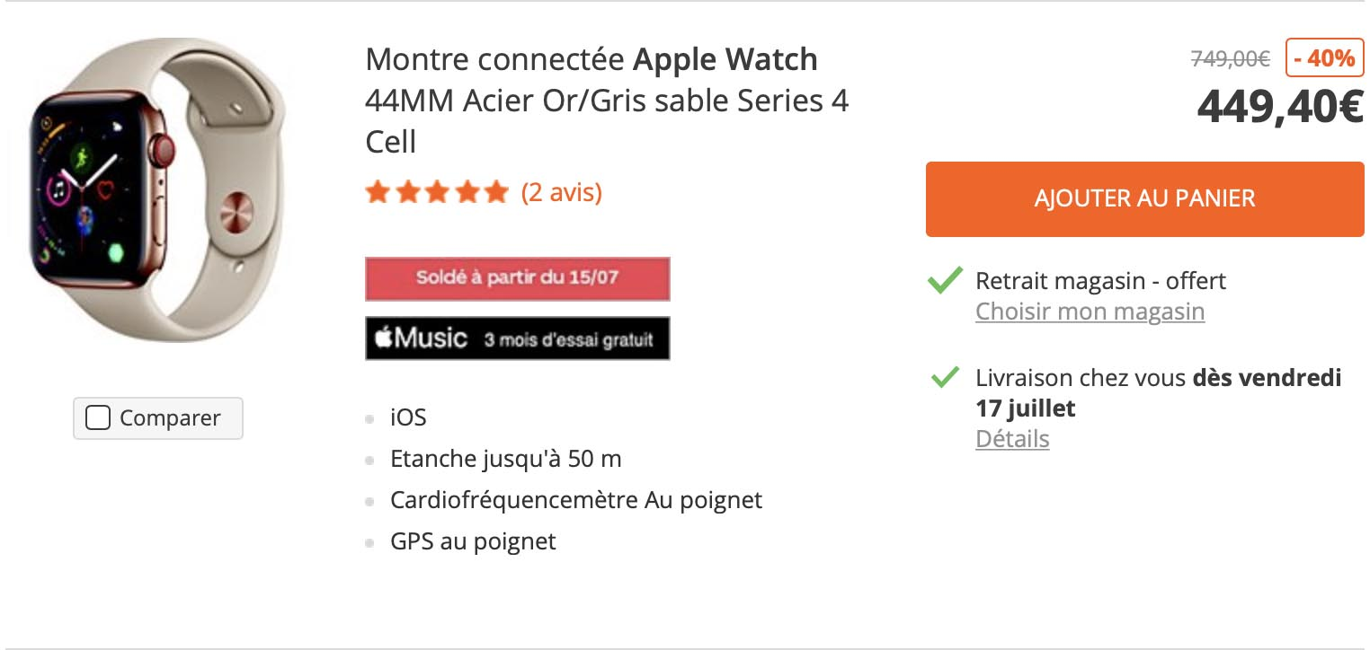 Apple Watch Series 4 soldes Darty