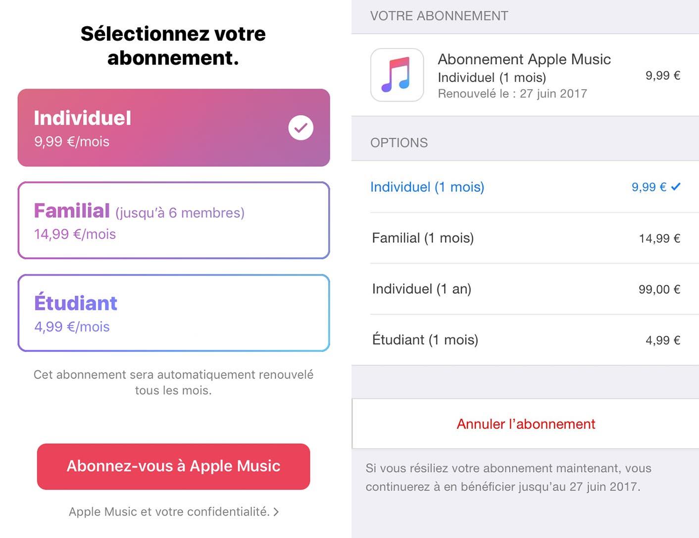 Abonnement Apple Music