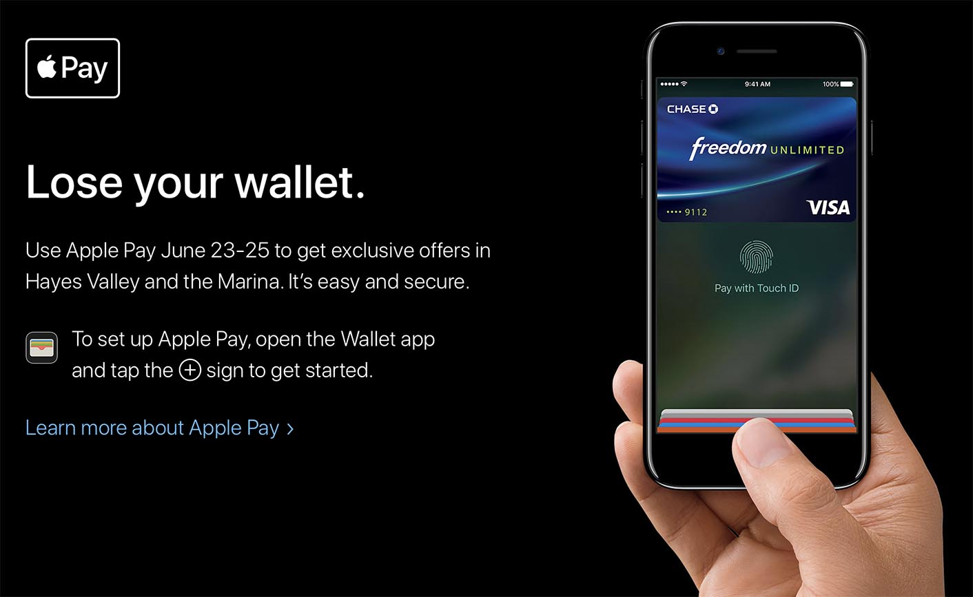 Apple Pay promo San Francisco