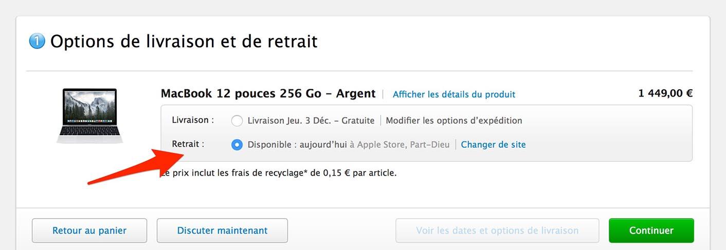 Retrait Apple Store