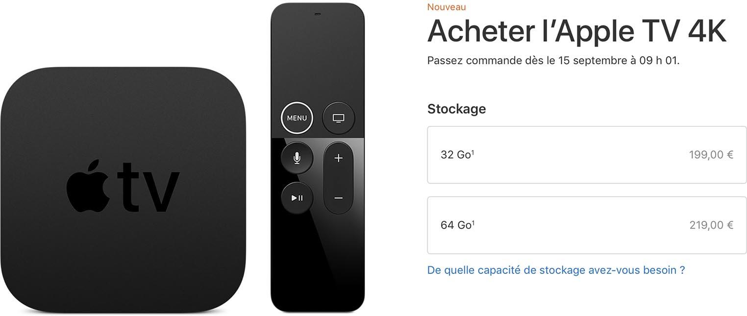 Apple TV 4K prix