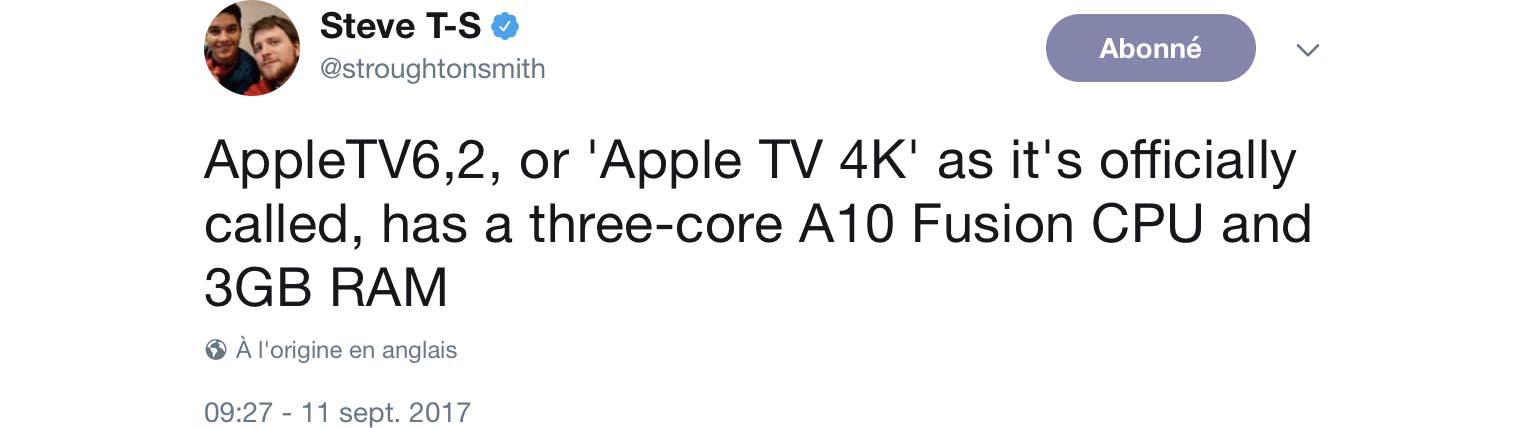 AppleTV6,2 tweet