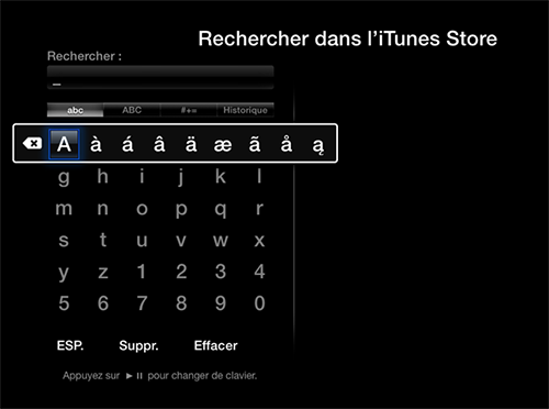 clavier sur apple tv