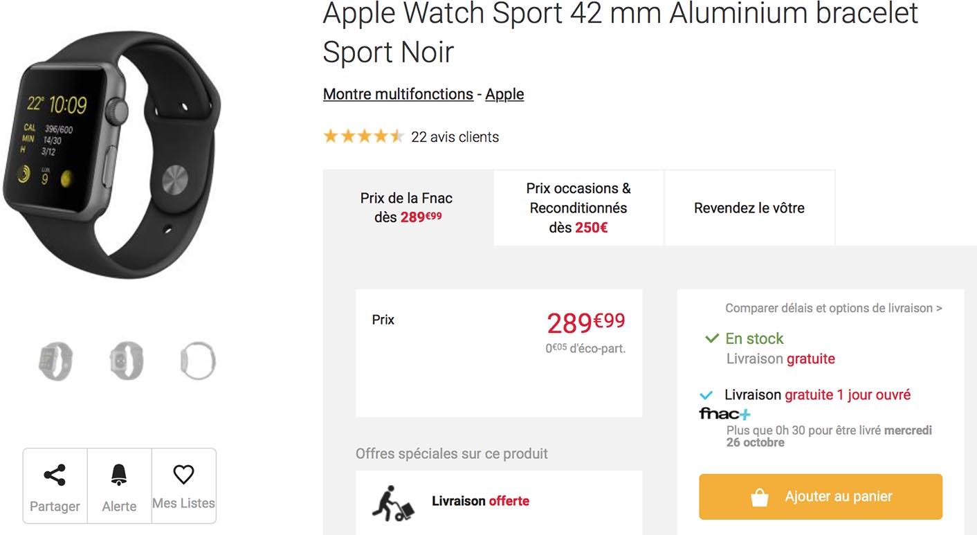 Apple Watch 42mm promo Fnac