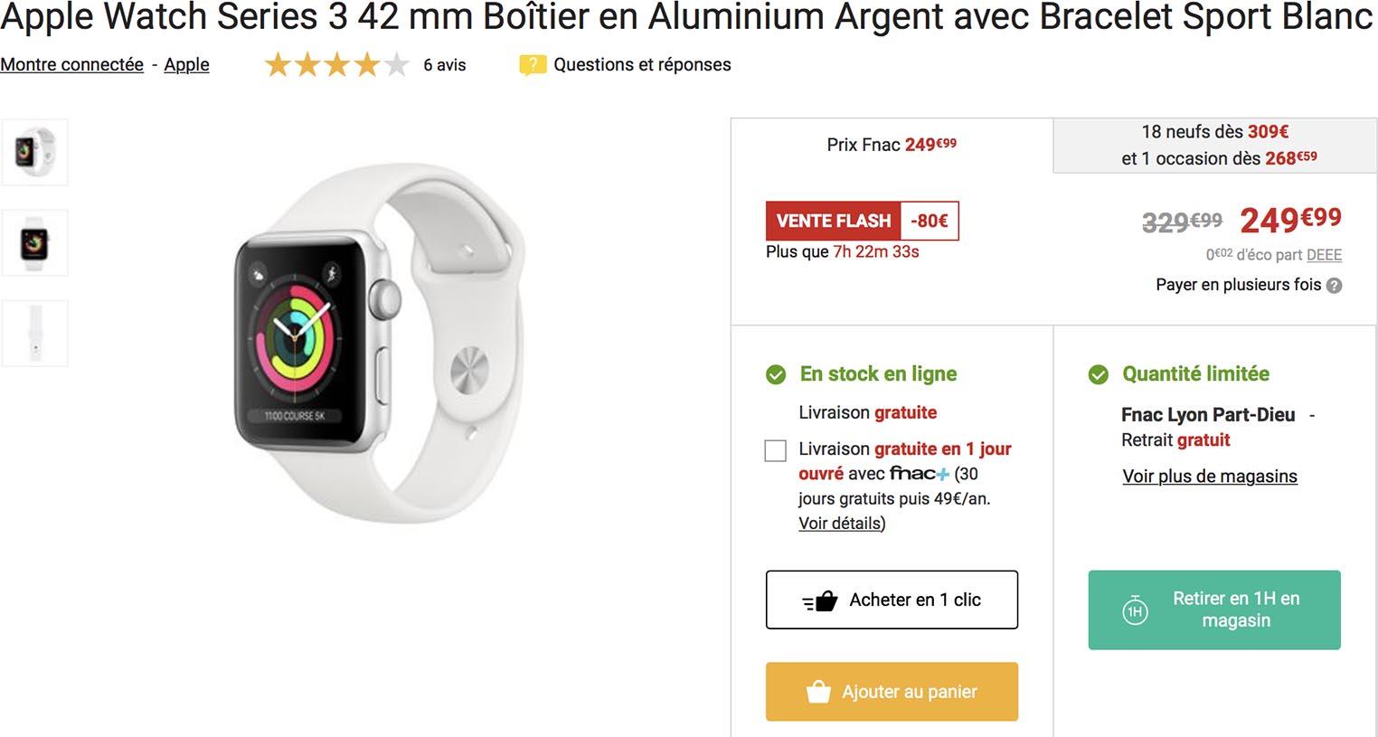 Apple Watch vente flash Fnac
