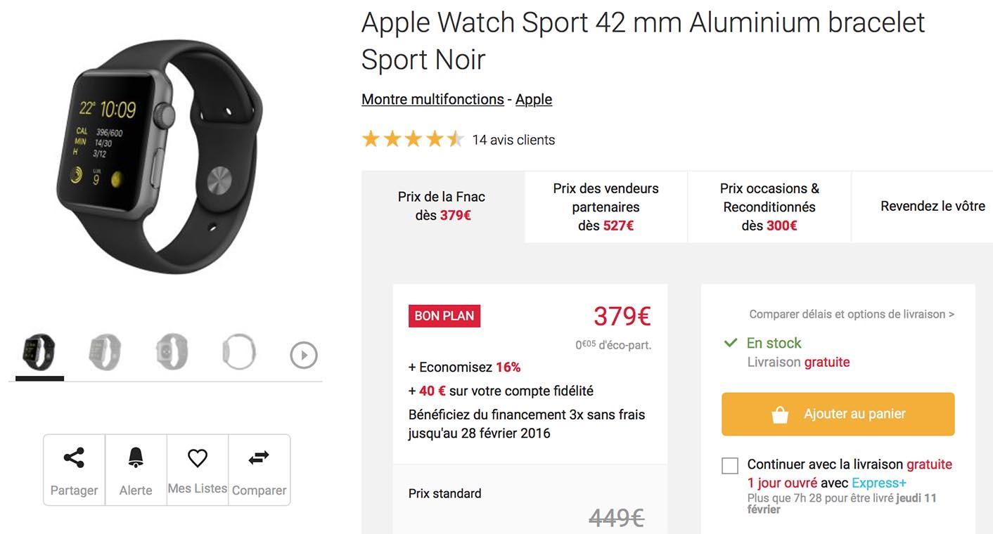 Apple Watch Sport noire 42 mm Fnac