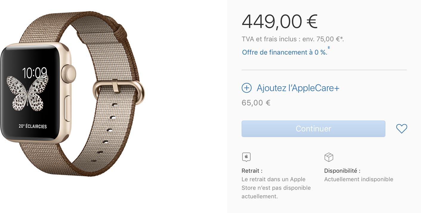 Apple Watch bracelet épuisé