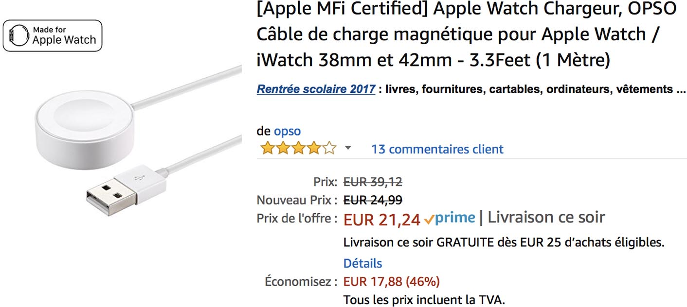 Chargeur Apple Watch Amazon