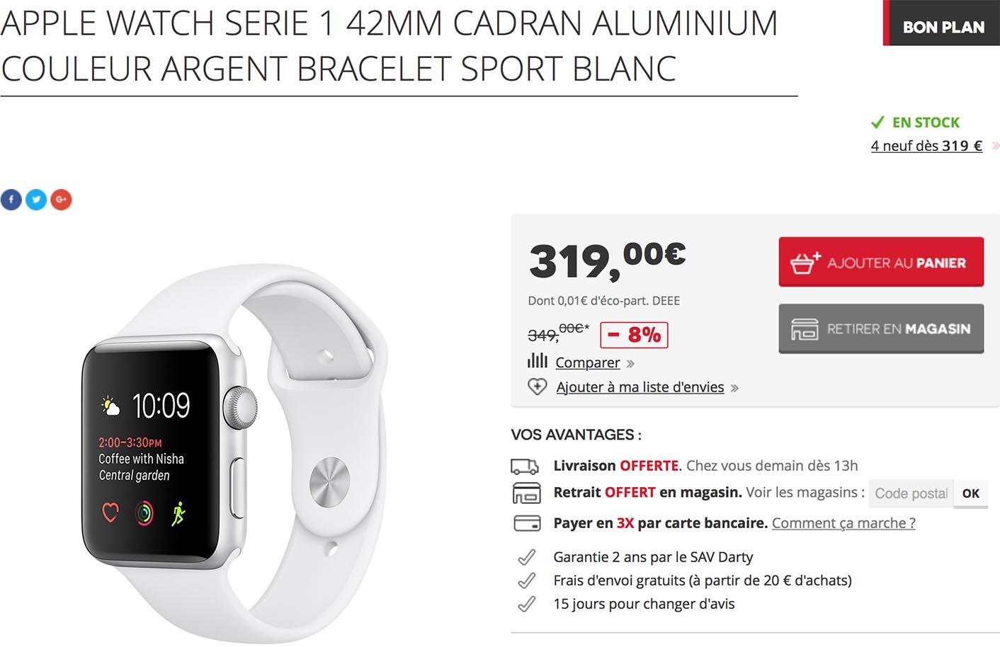 Apple Watch Series 1 promo Darty