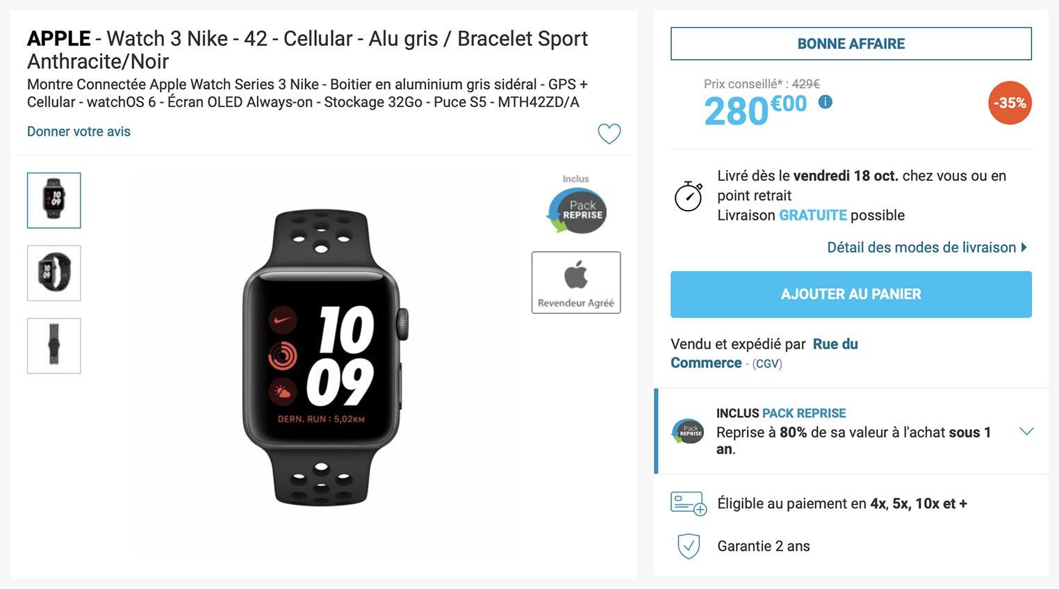 Apple Watch 3 cellulaire Rue du Commerce