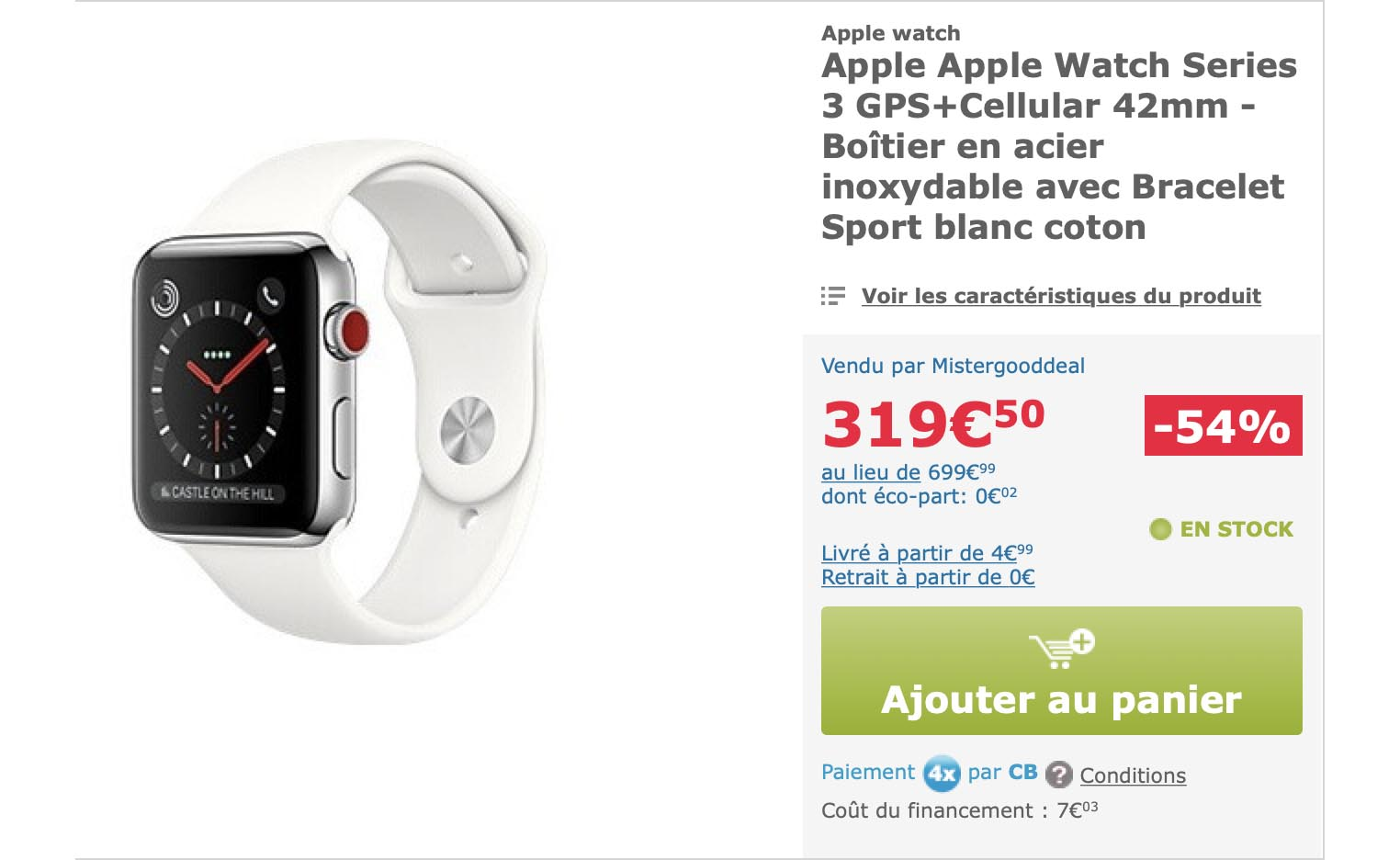 Apple Watch 3 acier MisterGoddDeal
