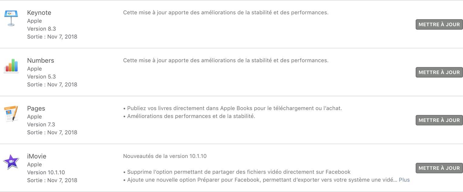 Mise à jour apps Mac