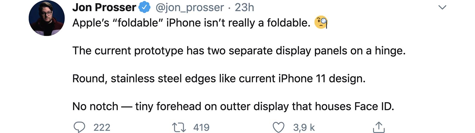 iPhone pliable tweet Jon Prosser