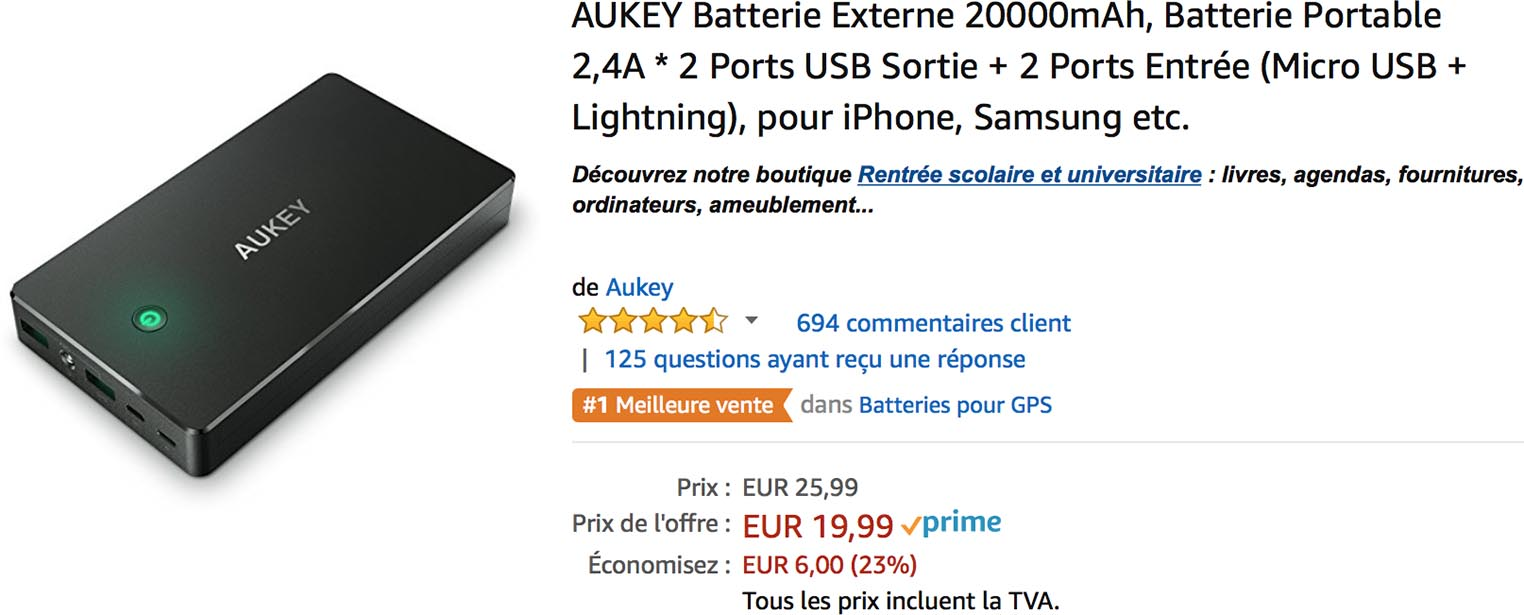Batterie Aukey Amazon