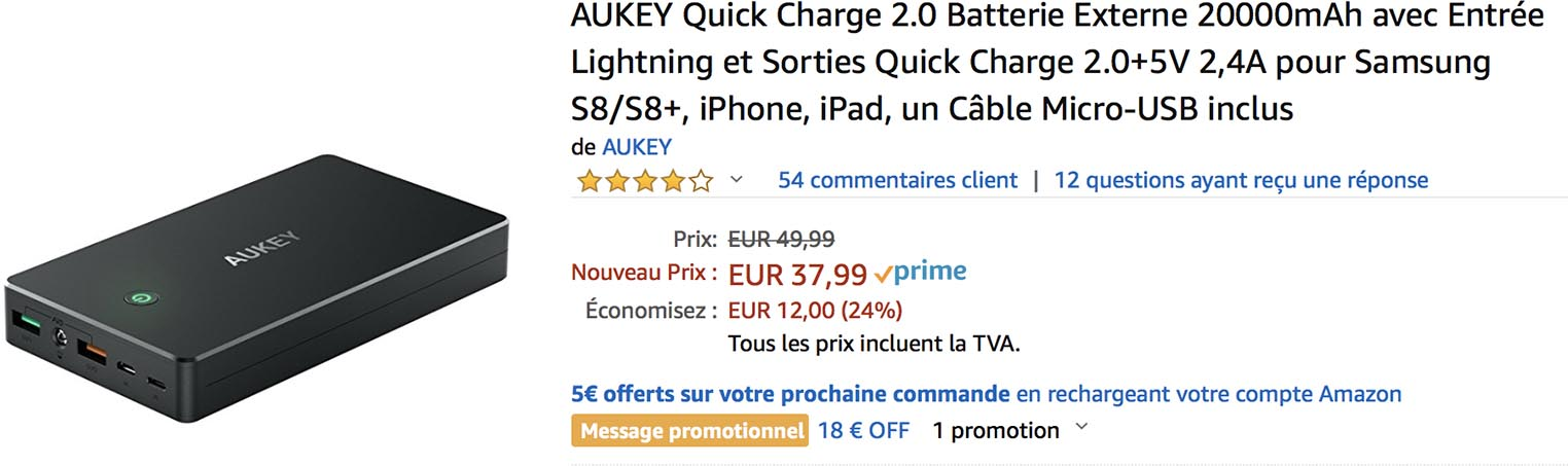 Batterie iPhone Aukey Amazon