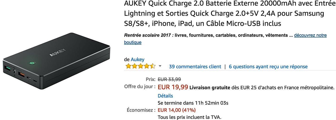 Batterie Aukey promo Amazon