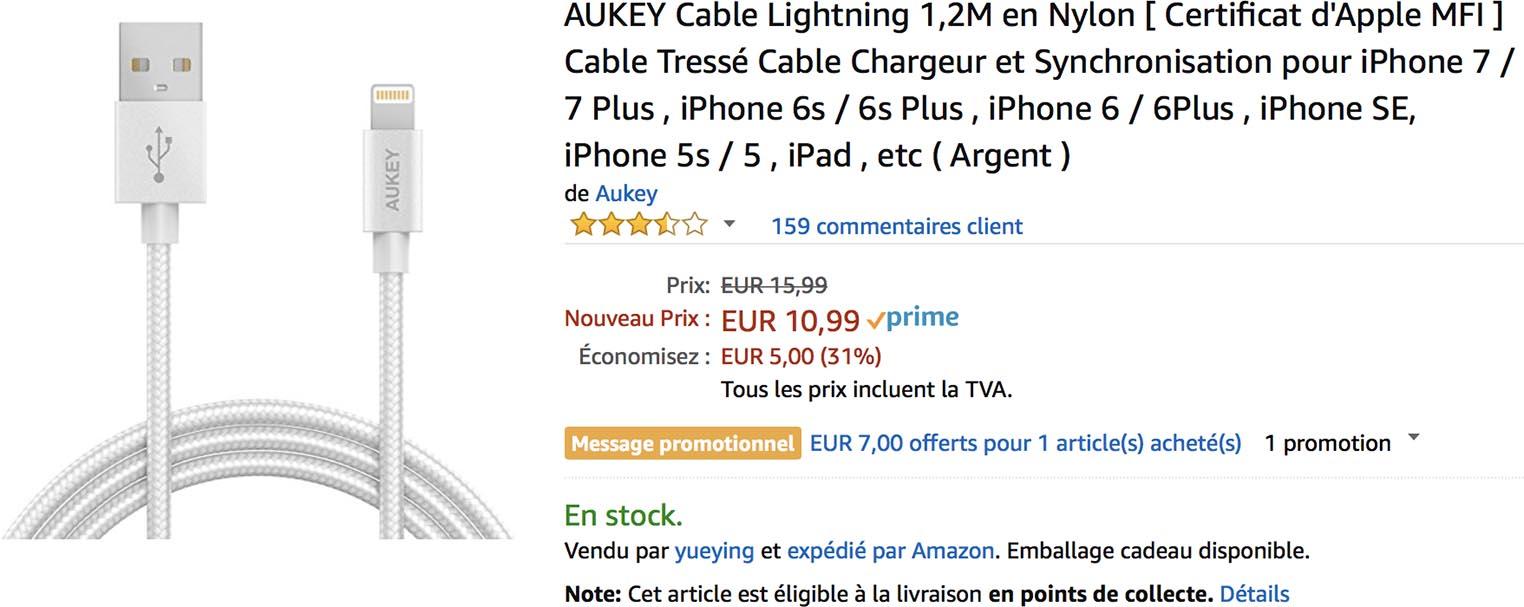 Câble Lightning Aukey