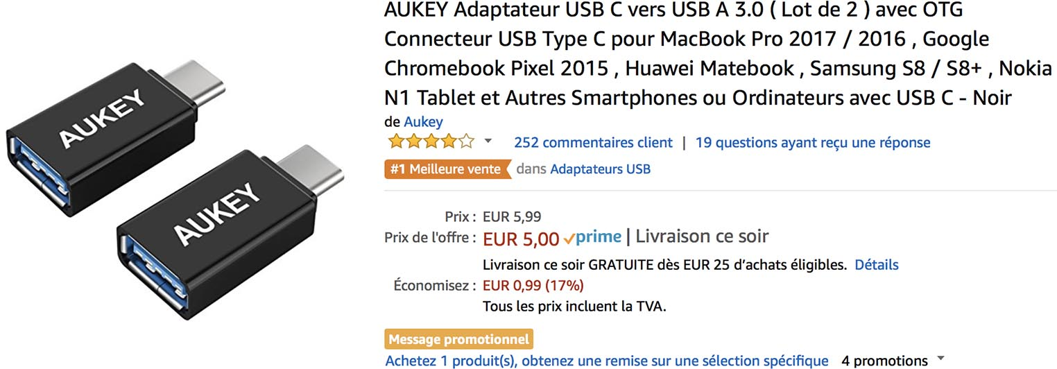 Aukey adaptateur USB-C Amazon