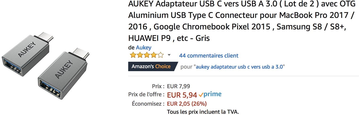 Adaptateur USB-C Aukey