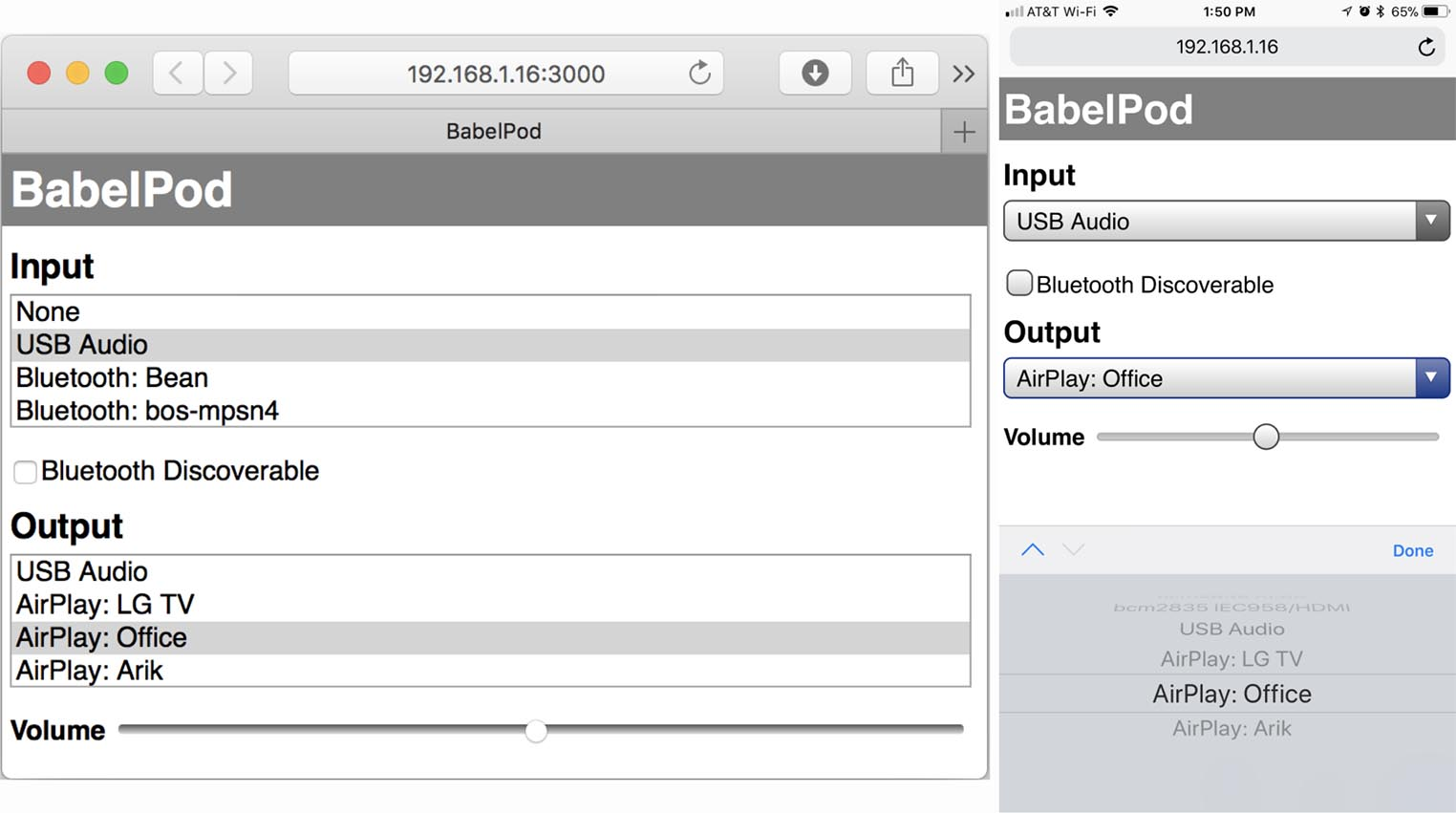 Babelpod interface