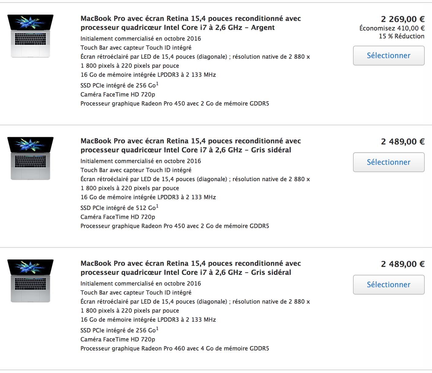 MacBook Pro 13 Refurb juin 2017