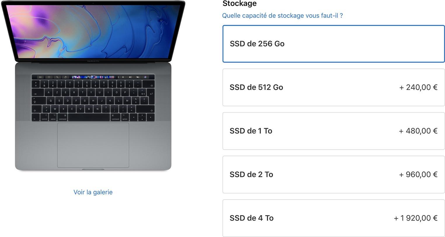Options stockage MacBook Pro 2019