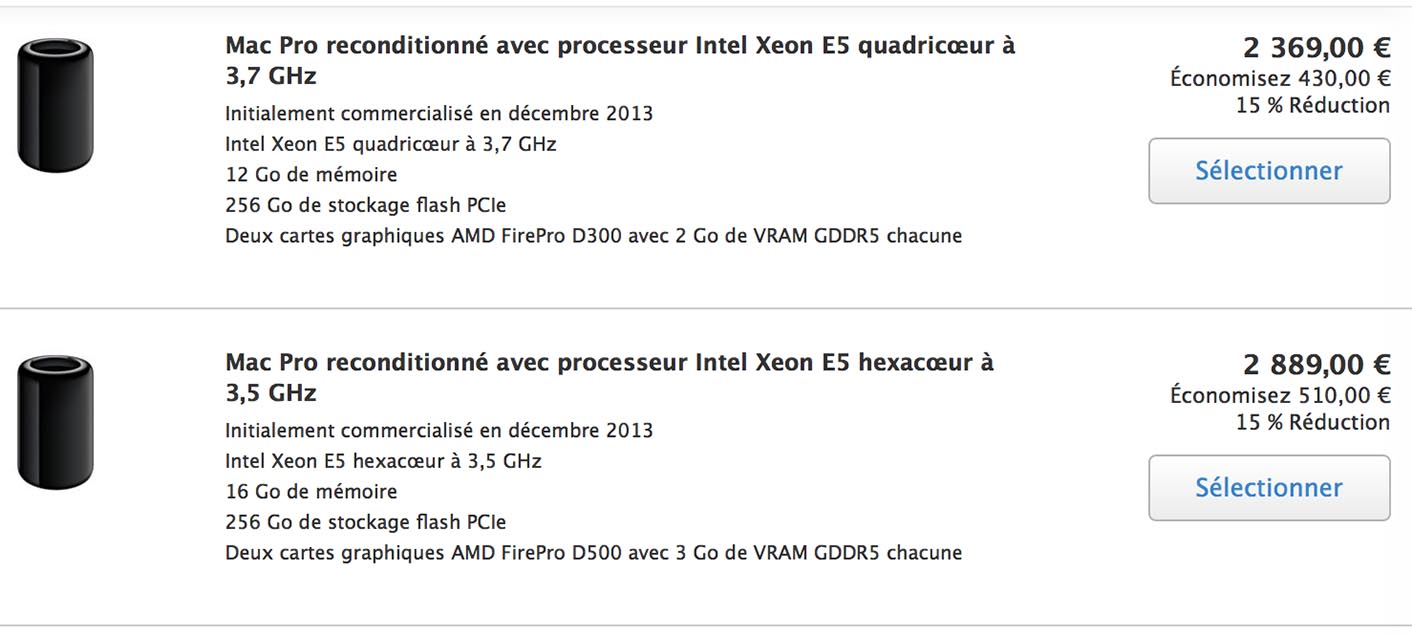 Baisse prix Mac Pro Refurb