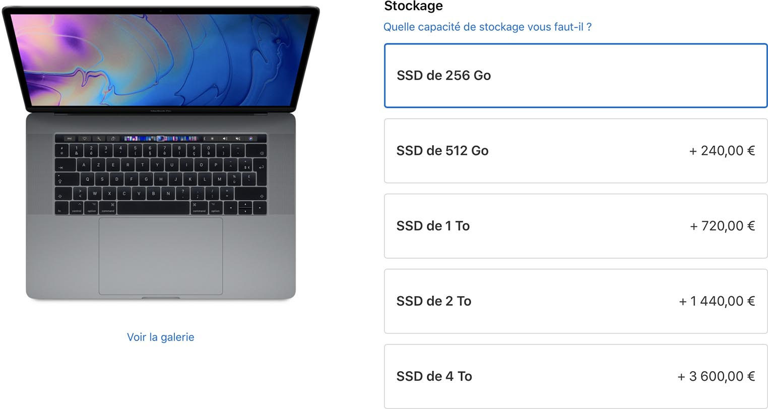Baisse prix options stockage MacBook Pro