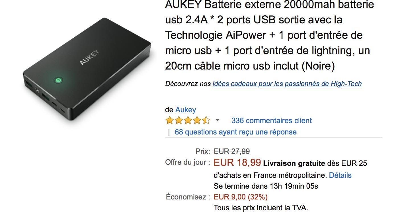 Batterie Aukey Amazon