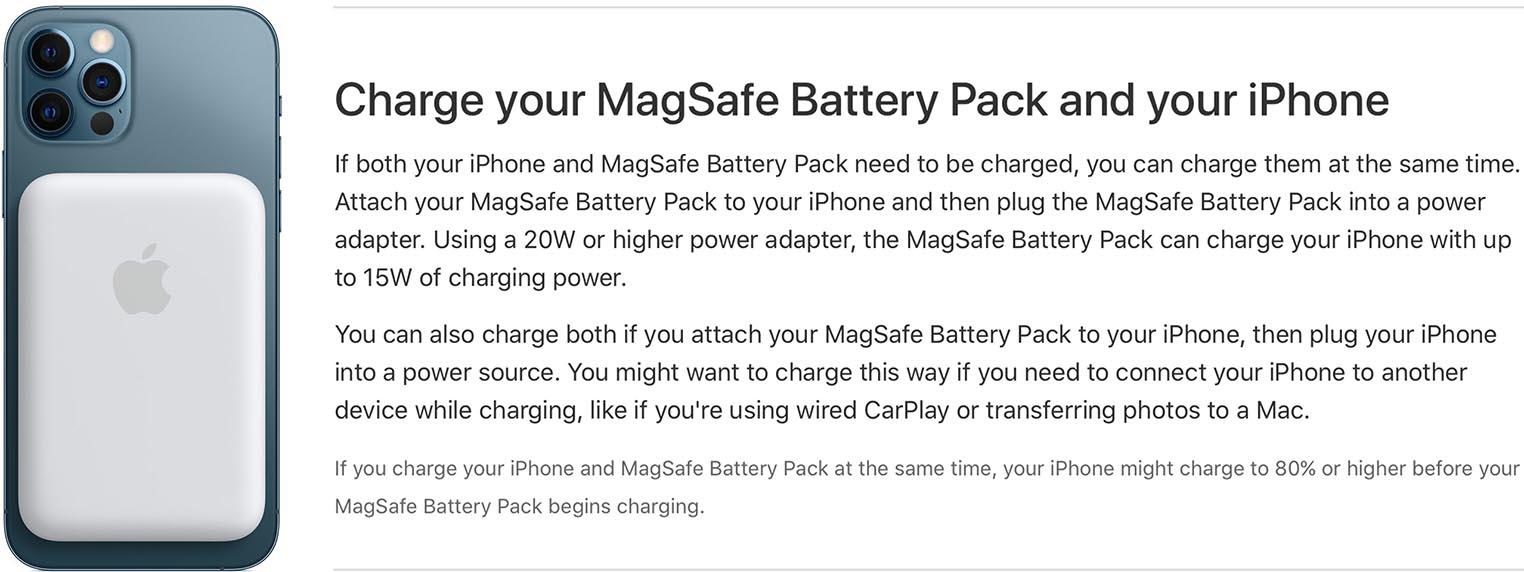 Batterie MagSafe recharge inversée