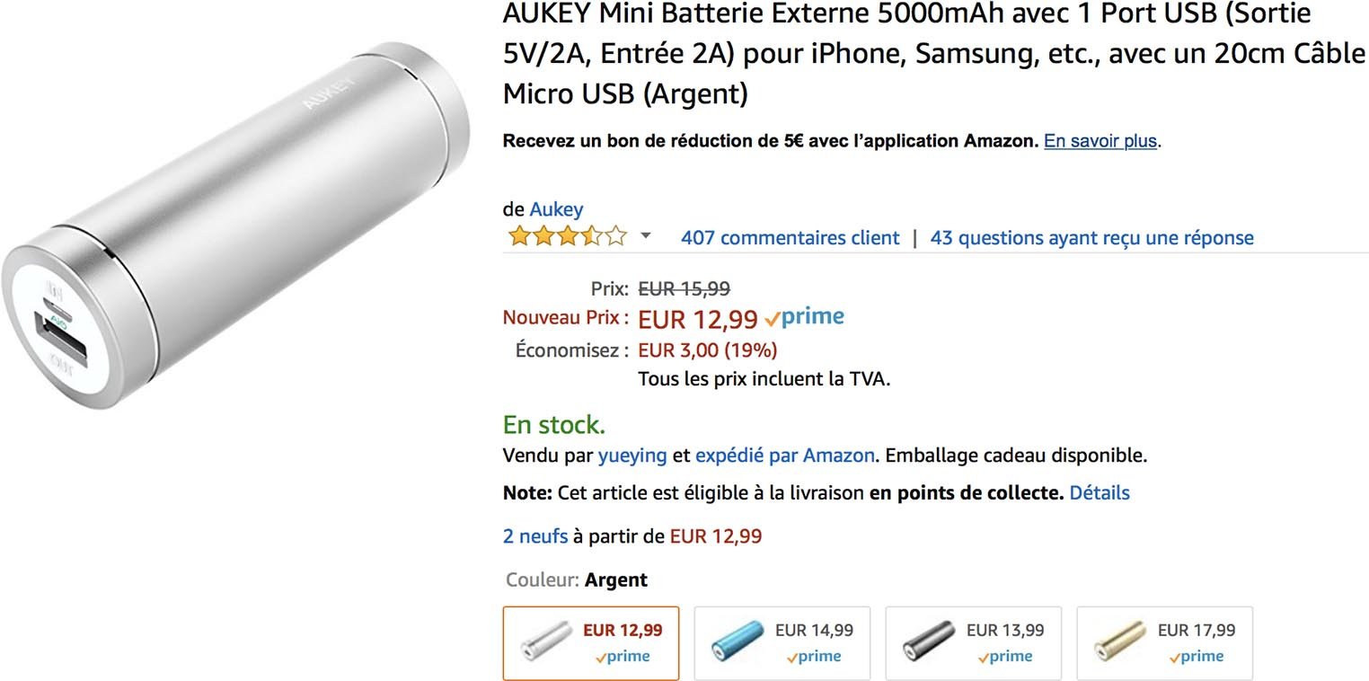 Batterie iPhone Aukey