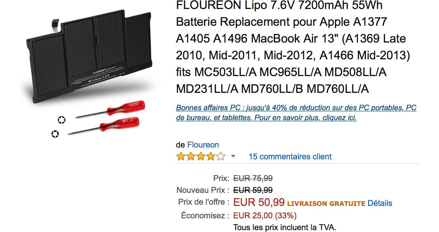 Batterie MacBook Air Amazon