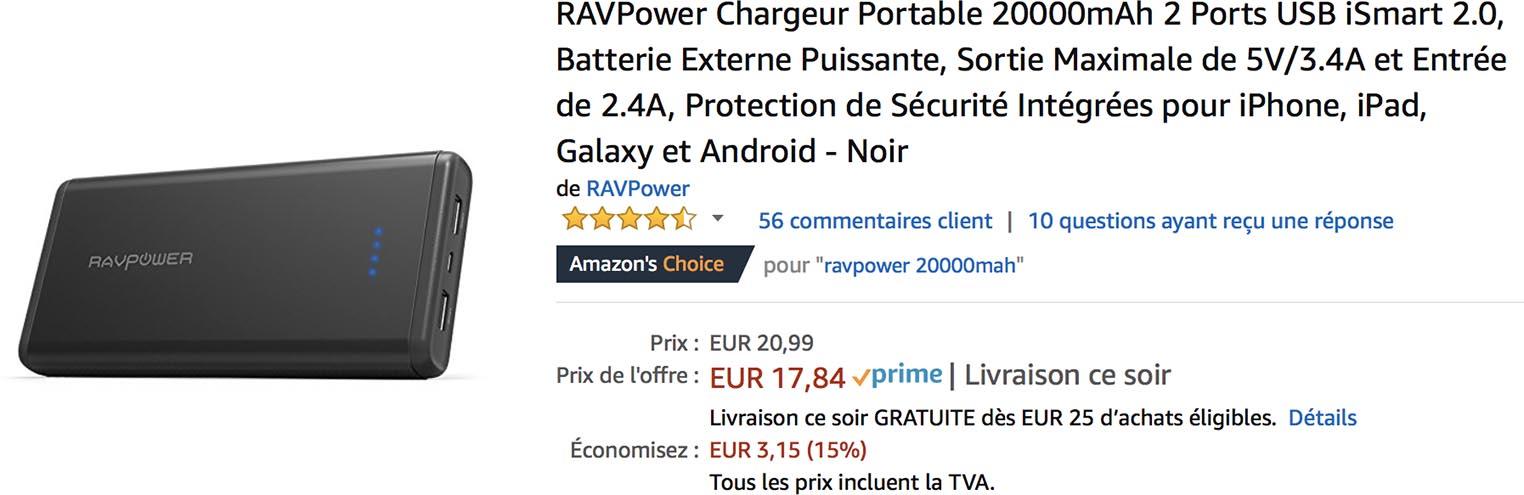 Batterie RAVPower Amazon